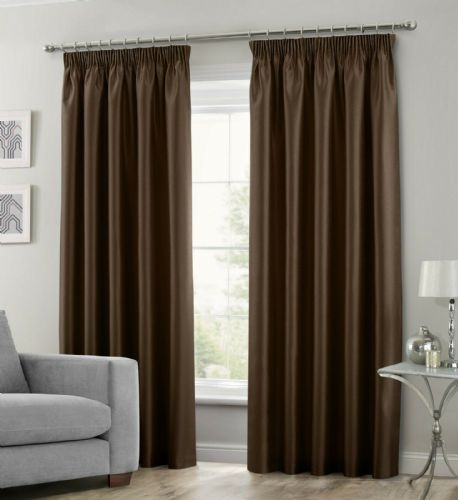 CHOCOLATE BROWN COLOUR STYLISH FAUX SILK FULLY LINED PAIR OF CURTAINS